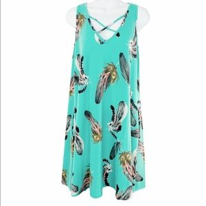 FASHION QUEEN feather sleeveless dress L